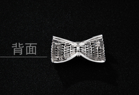 Copper Cubic Zircon stones bowknot collar female clothes bar pin brooch shawl cardigan delicate pin buckles