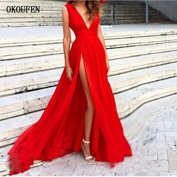 2019 Prom Dresses Red Plugging V-Neck Side Split Sexy Simple Ball Party Gowns Cheap Vestidos De Fiesta Largos Formatura Rochii
