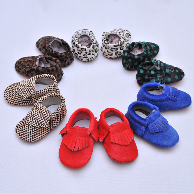 6colors New leopard fringe Genuine Leather Baby Moccasins Shoes Baby boys girls Shoes Newborn first walker Infant Shoes