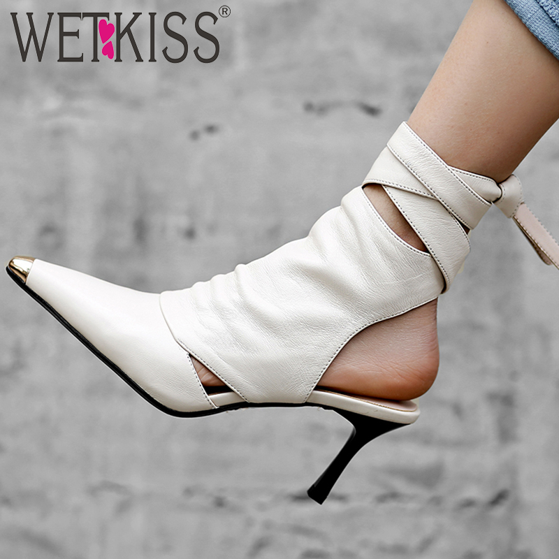WETKISS Slingback Ankle Boots Leather Women Pointed Toe Footwear High Heels Boots Female Cross Tied Shoes