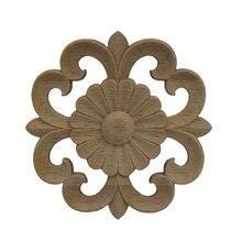 Aplique redondo de madera tallado en madera calcomanía muebles de pared esquina Vintage decoración del hogar para gabinetes espejos de ventanas miniaturas