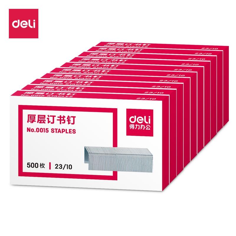 Deli 500pcs/Box12mm Staples Crwon Nails For Officel Metal Standards Hot Sale Staples 23/10 Size Silver Normal Staple