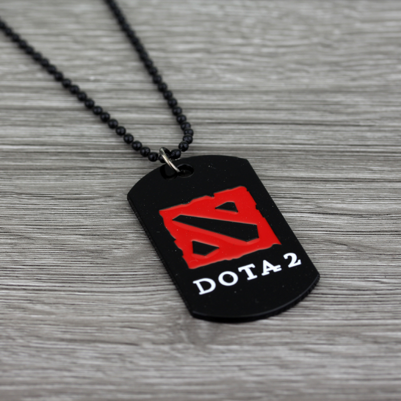 Hot Online Game Dota 2 logo Necklaces & Pendants Punk Red Black Enamel Sign Custom Dog Tag Charms Ball Chain Pendant Necklaces