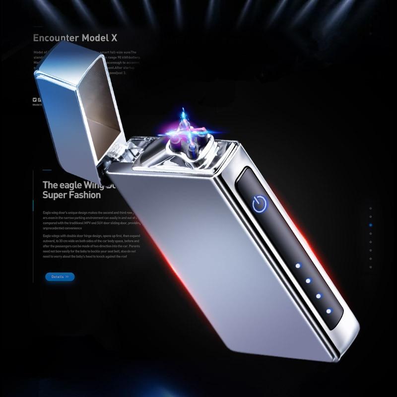 fingerprint Double Arc Plasma Lighter USB Pulse Windproof Metal Electronic smart display power Lighters Gifts