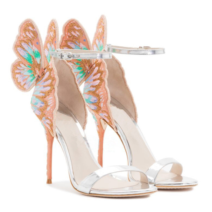 Women Embroidered Butterfly Wings Sandals Mixed color High Heels Ankle Strap Stilettos Wedding Heels Party Dress Shoes size34 42 in High Heels from Shoes