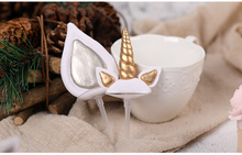 Unicorn Cake Toppers Unicornio Horn Ears Decorations Cupcake Baby Birthday Party Baking Tools