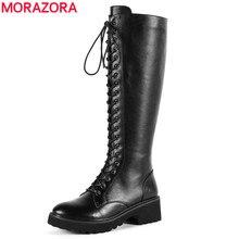 MORAZORA 2020 yeni yüksek kalite hakiki deri çizmeler kadın dantel up diz yüksek çizmeler siyah kare topuk kışlık botlar bayan ayakkabıları