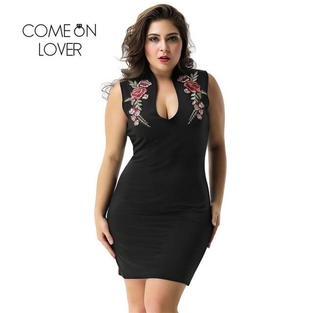 63a4c51b72d8 Vestidos de Festa Para A Mulher Comeonlover Subiu Bordado Preto Mini Vestido  Curto RI80483 Plus Size