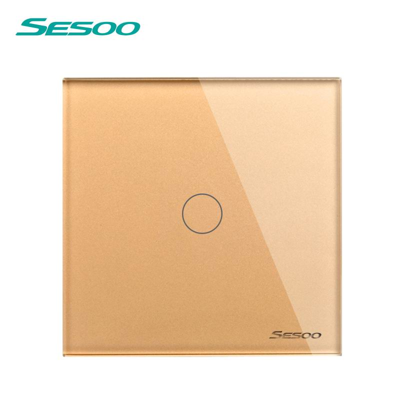 SESOO EU/UK Standard Touch Switch 1 Gang 1 Way Wall Light Touch Switch-Crystal Glass Switch Panel golden smart home us au wall touch switch white crystal glass panel 1 gang 1 way power light wall touch switch used for led waterproof