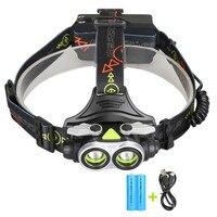 Bike Accessories 20000LM USB 2T6 Infrared Sensor LED Headlamp Fishing Headlight 18650 Charger Bicycle Headlight 170712