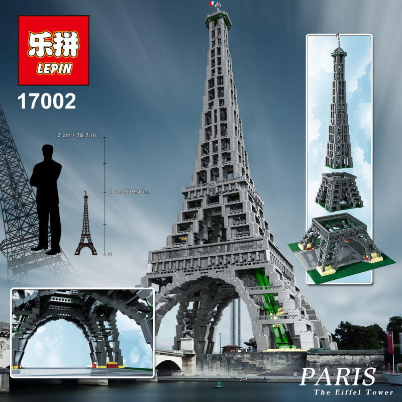 New LEPIN 17002 City Street Creator The Eiffel Tower Model Building Assembling Minifigures Brick Toys Compatible