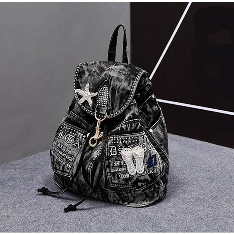 iPinee vruće prodaja mochila feminina ženski ruksak traper ruksak - Ruksaci - Foto 2