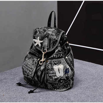 iPinee Hot Sale mochila feminina Women\'s Backpack denim backpack teenage Girls vintage Travel bag shoulder bags mochila feminina