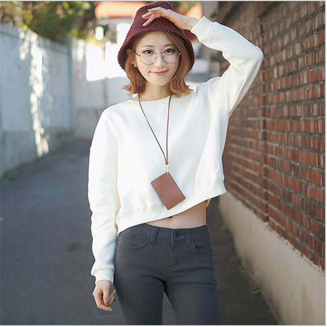 0e19ed6a982ce Casual Women Solid Sexy Crop Top Tees T Shirt O-Neck T shirts Full Sleeve  Female Teenage Girls