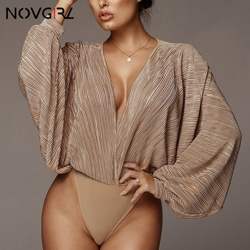 Novgirl Sexy Deep V Neck Long Sleeve Loose Women   Jumpsuit   2019 Spring Autumn Patchwork Fashion Bodysuit Clubwear Casual Overalls