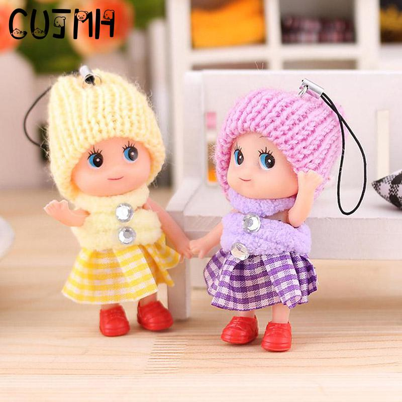 CUJMH 1PC Cartoon Mobile Phone Straps 8CM Cute Mini Doll Pendant Lanyards for Phones Decoration Kawaii Baby Dolls Toys Kids Gift