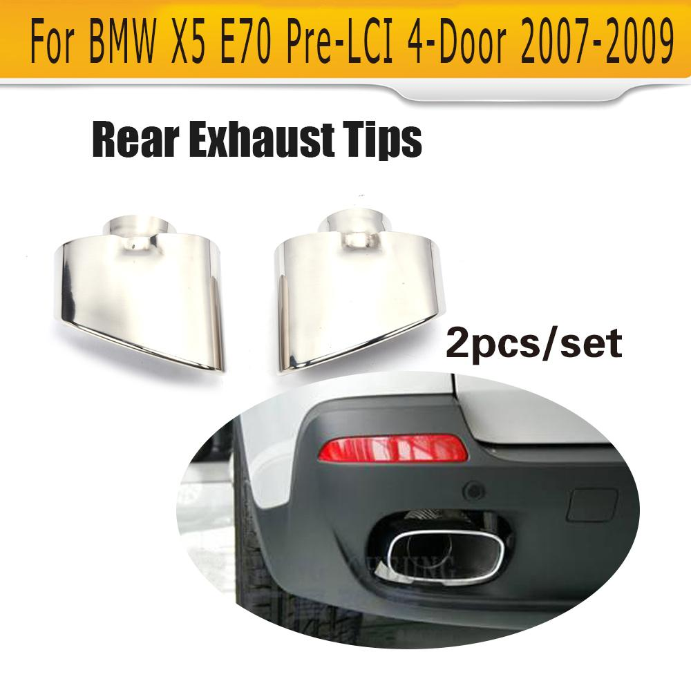 Stainless Steel Rear Exhaust Tips Muffler Pipe End Fit For BMW X5 E70 Pre-Facelift Non-Convertible 2007-2009 2Pcs цена