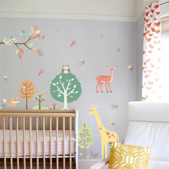 Muursticker Giraffe Kinderkamer.Bos Dieren Uilen Giraffe Boom Muurstickers Voor Kinderkamer Kinderen