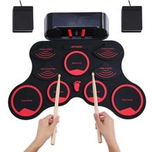 Ammoon портативная электронная барабанная установка цифровой ролл-ап MIDI барабанный комплект 9 силиконовых прочных подушечек встроенные стереодинамики литиевая батарея