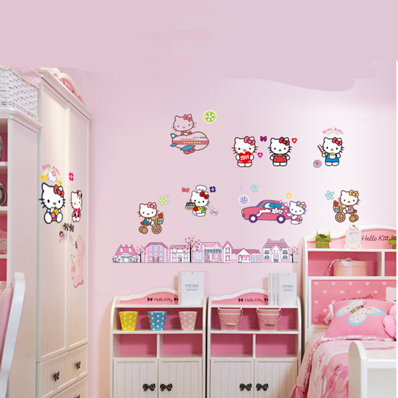 Rumah Stiker Hello Kitty Latar Belakang Wallpaper Pvc Dinding Stiker