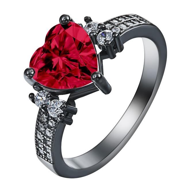 Schwarz Gold Rot Liebe Herz Ringe Fur Frauen Engagement Ring