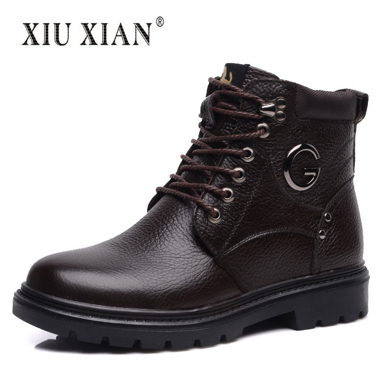 100% Genuine Leather Men Snow Boots Soft Thick Plush Non-slip Outdoor Shoes 2017 New Fashion Casual Ankle Boot Super Warm Winter yin qi shi man winter outdoor shoes hiking camping trip high top hiking boots cow leather durable female plush warm outdoor boot