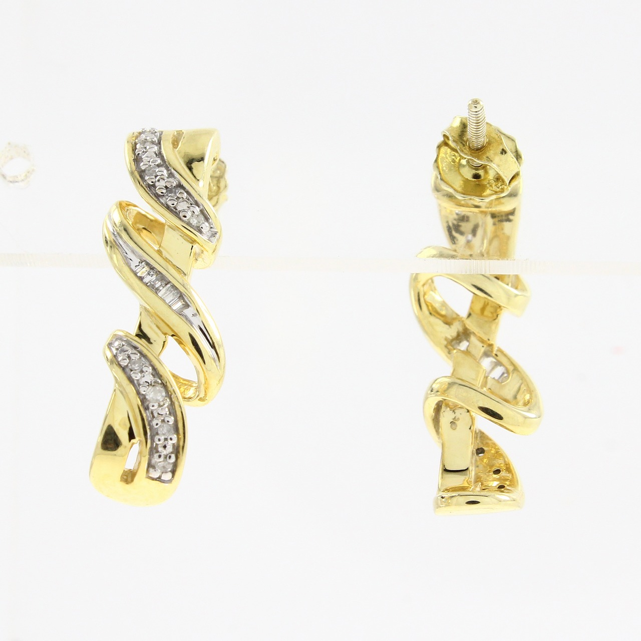 0.10 CT Natural Diamond Stud Earrings In 14K Yellow Gold Plated Silver pair of zircon gold plated stud earrings