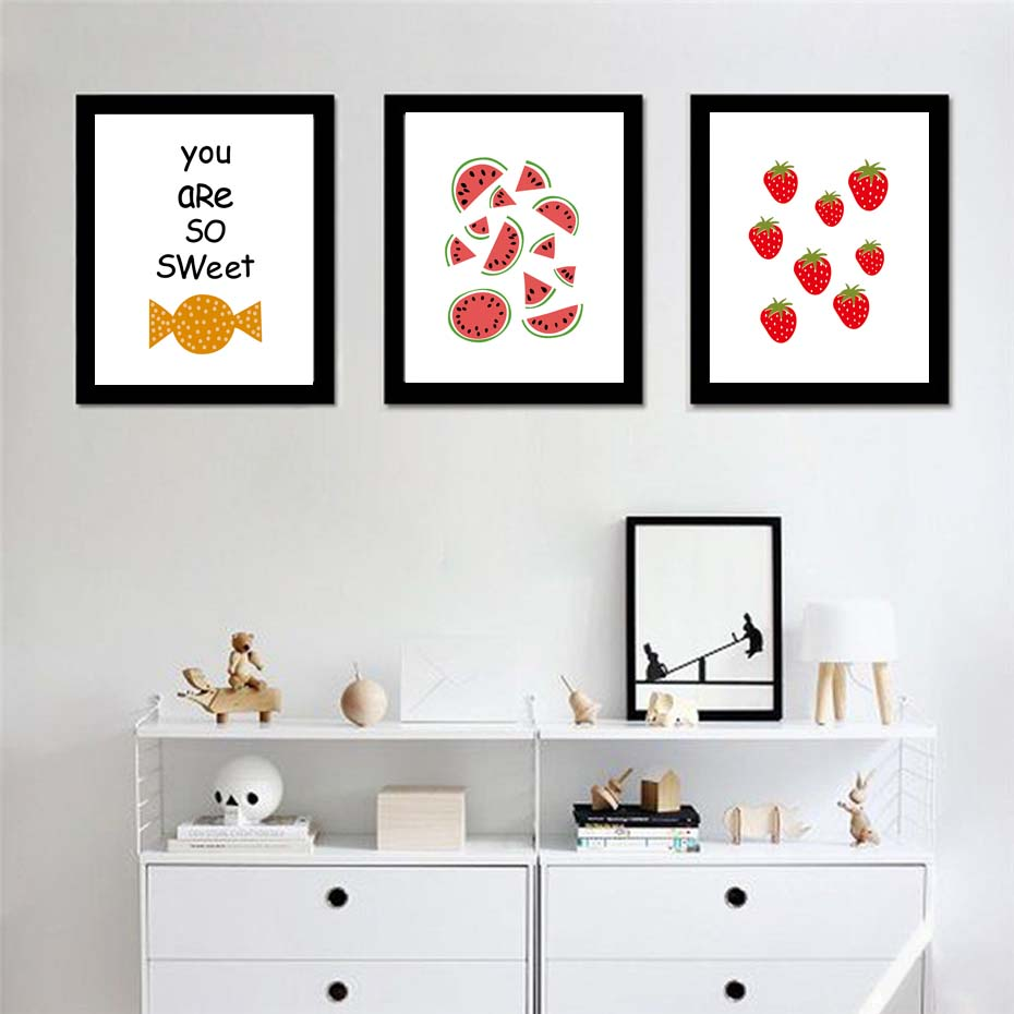 Candy Strawberry Pattern Decorative Painting Art Print Poster Picture Wall Paintings For Kids Room Shop Wall Decoration