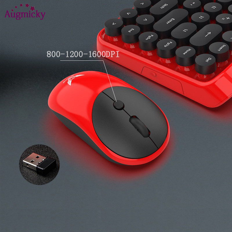 Newest Vintage punk Gaming Keyboard Mouse Combo 2 4GHz 84 Keys Mechanical Feel Mute Keyboard with 4 Keys 1600 DPI Optical Mouse in Keyboard Mouse Combos from Computer Office