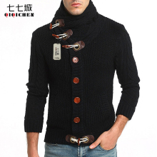 2017 Autumn Winter Knitted Sweater Men Turtleneck Casual Cardigan Sweater Coat Men Horn Button Design Thick Cardigan masculino