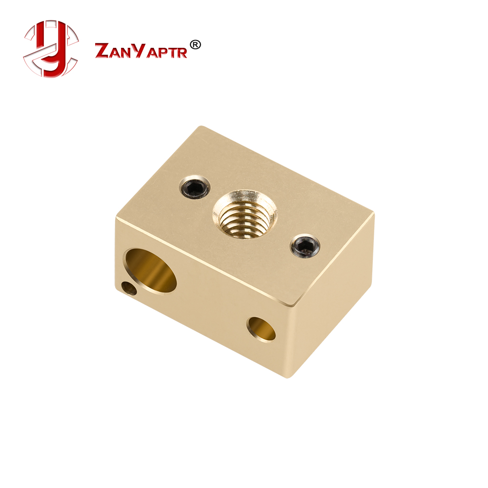 ZANYAPTR - 1Pcs Reprap 3D Printer Extruder V6 High Quality Brass Heater Block For HotEnd 22x16x12mm For M6 Nozzle