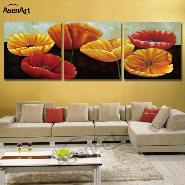 Art Painting Corn Poppy Flower Wall Picture 3 pieces Modular ...