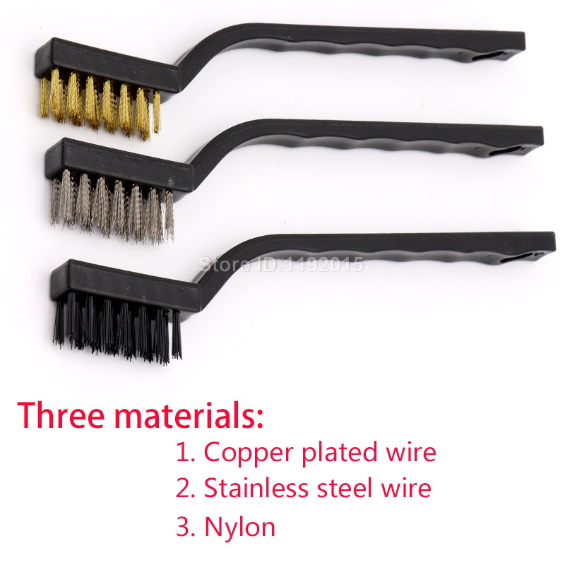 3 x HEAVY DUTY WIRE BRUSH SET STEEL COPPER CLEANING PAINT RUST REMOVER NYLON NEW