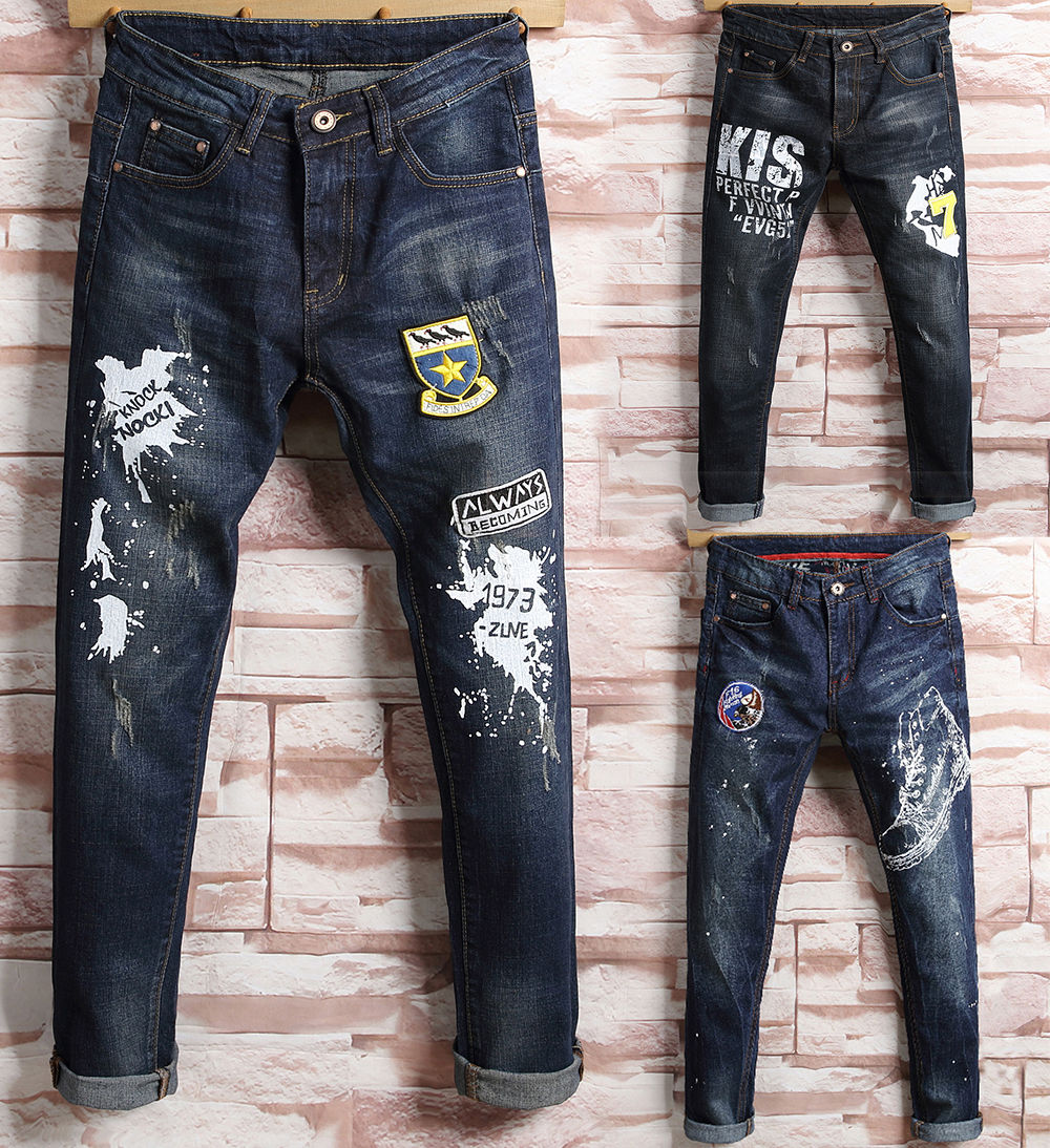 New Fashion Men Designed Straight Slim Fit Biker Jeans Long Pants Denim Trousers Skinny Causal Appliques Jeans Pants men s cowboy jeans fashion blue jeans pant men plus sizes regular slim fit denim jean pants male high quality brand jeans
