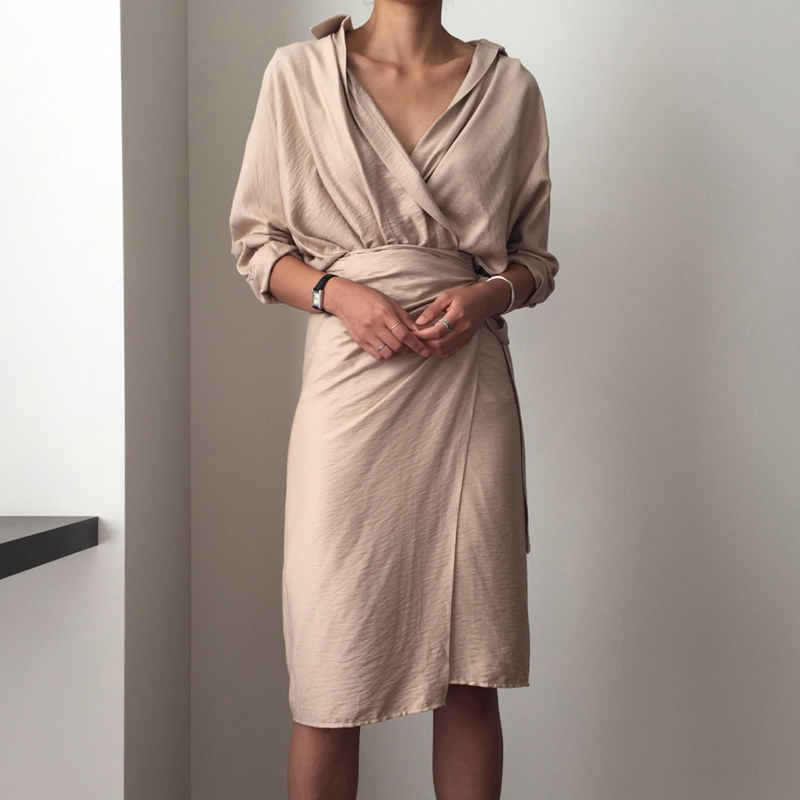 CHICEVER Bow Bandage Dresses For Women V Neck Long Sleeve High Waist Women's Dress Female Elegant Fashion Clothing New 19 28