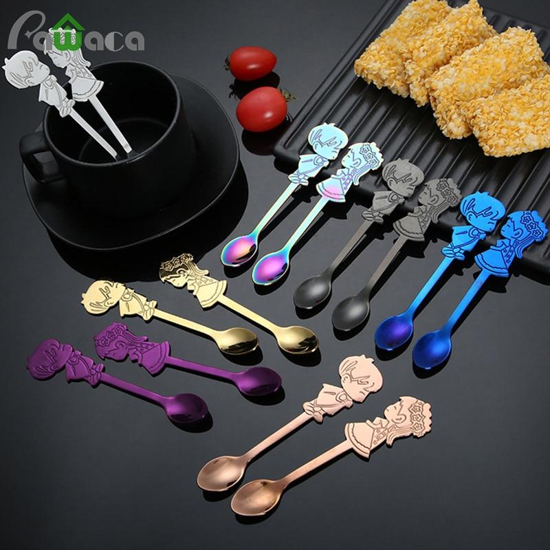 2Pcs/Set Stainless Steel Couple Coffee Spoon Dessert Ice