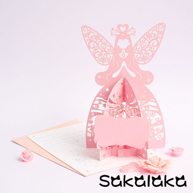 3d luxury handmade christmas greeting cards 3d stereo handmade pop up sweet festival wishes card angel - 3d Greeting Cards