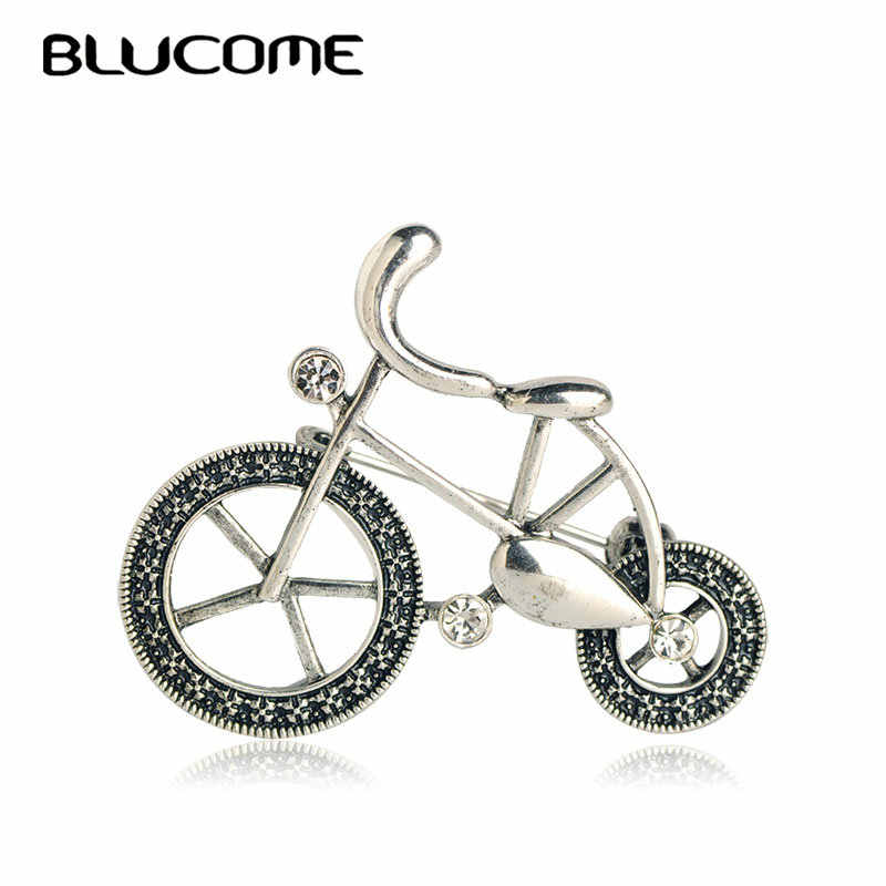 7b3c23d53bd Blucome Vintage Antique Silver Color Bicycle Bike Brooches Crystal Alloy  Jewelry Women Kids Coat Turban Dress