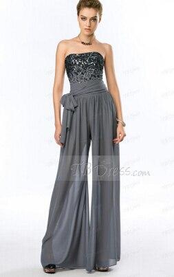 Летние костюмы vestido de noiva Prom pant Сексуальное Женское строгое вечернее платье Бисероплетение платья для матери невесты - Цвет: Серый
