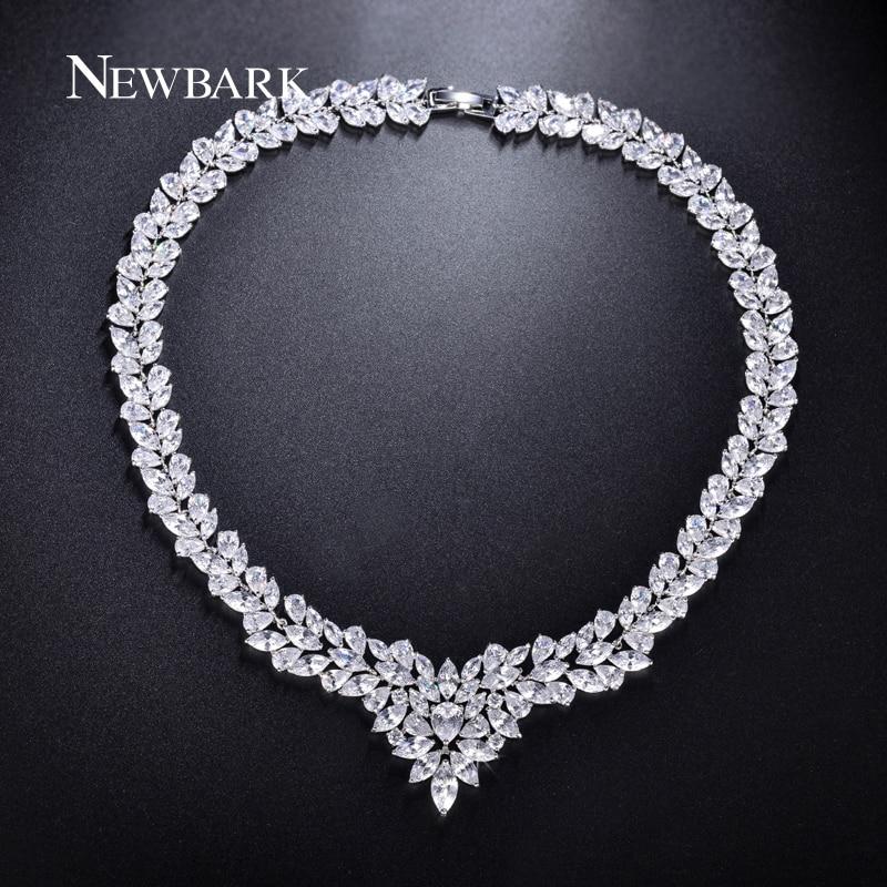 цена на NEWBARK Silver Color Cubic Zircon Bridal Jewelry Necklace Leaf Shape Rhinestone Choker Necklaces for Women Wedding