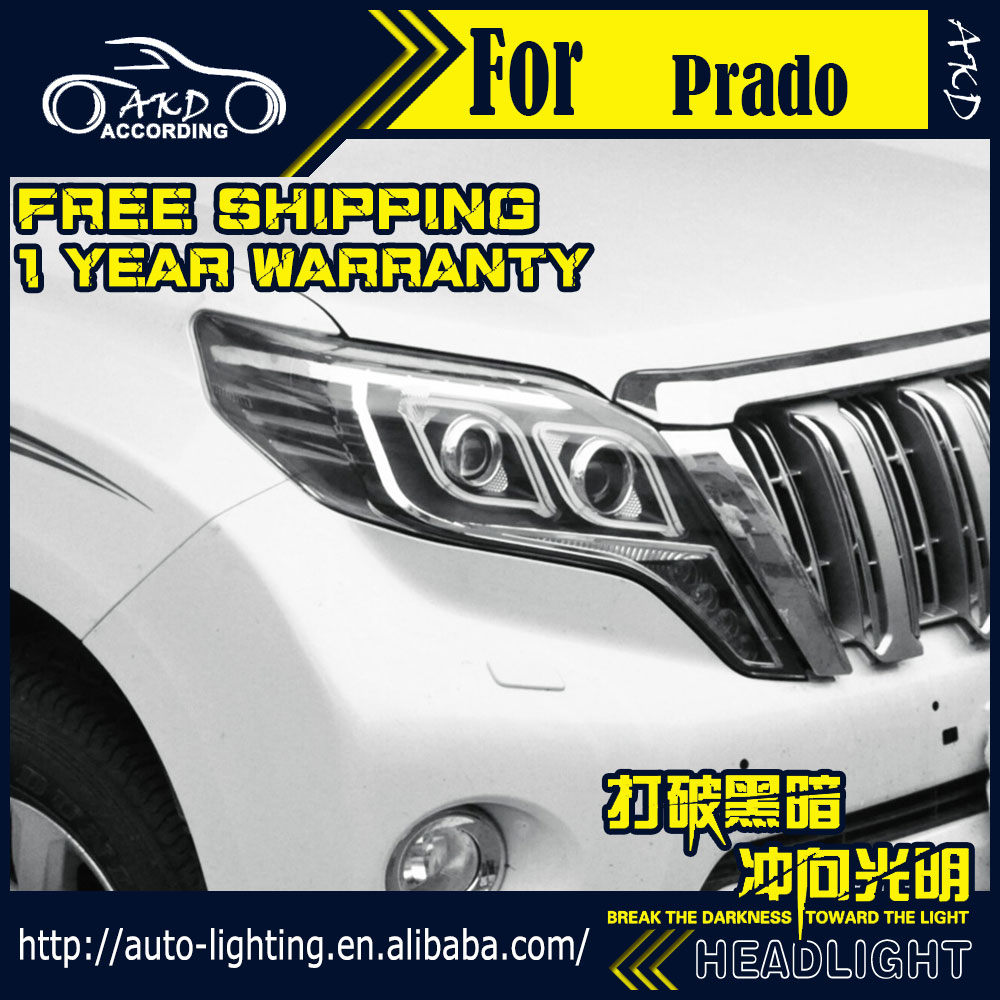 AKD Car Styling Head Lamp for Toyota Prado Headlights New Prado LED Headlight LED DRL H7 D2H Hid Option Angel Eye Bi Xenon Beam new arrival canbus p6 car led head lamp conversion kit bulb 4500lm 2 9000lm led headlight super bright 45w 2 90w car styling