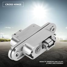 2Pcs/Set Zinc Alloy Door Concealed Cross Hinge 180 degree for Furniture Invisible Gate