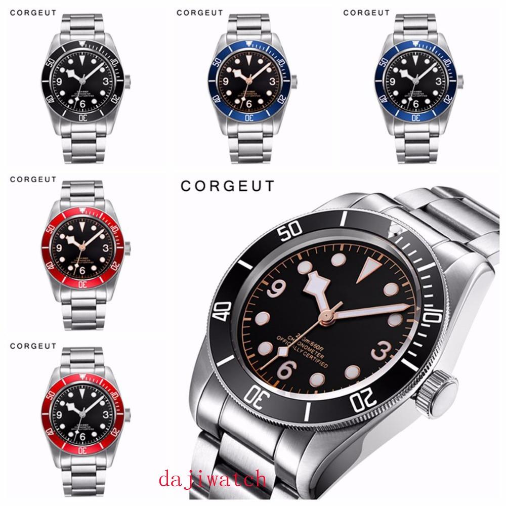 Механические часы Corgeut, светящиеся сапфировые Schwarz Bay, мужские автоматические спортивные часы для плавания, роскошные Брендовые мужские мех...