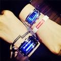 Moda Azul Rojo de Luz LED Digital de Acero Inoxidable Completa Relojes de Pulsera Reloj de pulsera para Hombres de Las Mujeres Unisex de Plata Negro