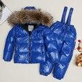 16 nuevo estilo de los niños de invierno traje de dril blanco/boby abajo traje para la nieve y de la muchacha de piel de mapache parka como chaquetas de invierno gratis gratis