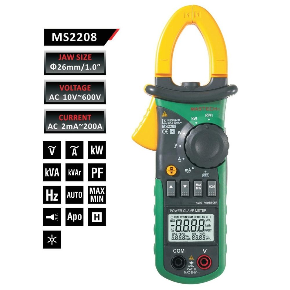 Mastech MS2208 Harmonic Power Clamp Meter Tester Multimeter Trms Voltage Current Power Phase Angle Test zipabox power current clamp 35a