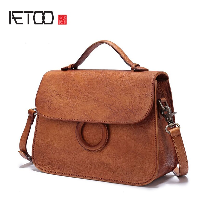 Aetoo 가죽 핸드백의 첫 번째 레이어 가죽 작은 사각형 가방 캐주얼 여성 휴대용 비스듬한 크로스 패키지 핸드 팩-에서탑 핸드백부터 수화물 & 가방 의  그룹 1