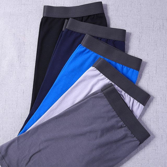 5 Pcs/Lot Long Boxers Men Boxer for Men Cotton Soft Breathable Mens Underwear Men Boxershorts Male U-convex US Size M L XL XXL