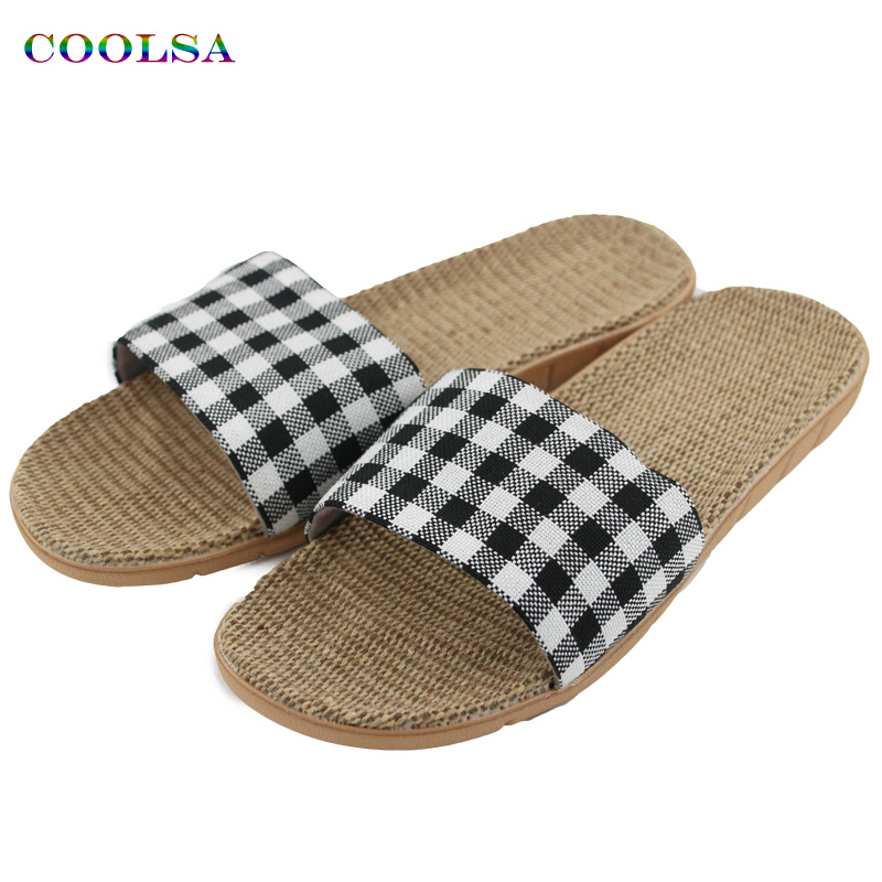 COOLSA New Summer Linen Women Slippers Fabric Eva Flat Non-Slip Slides Linen Sandals Home Slipper Lovers Casual Straw Beach Shoe coolsa women s summer flat non slip linen slippers indoor breathable flip flops women s brand stripe flax slippers women slides
