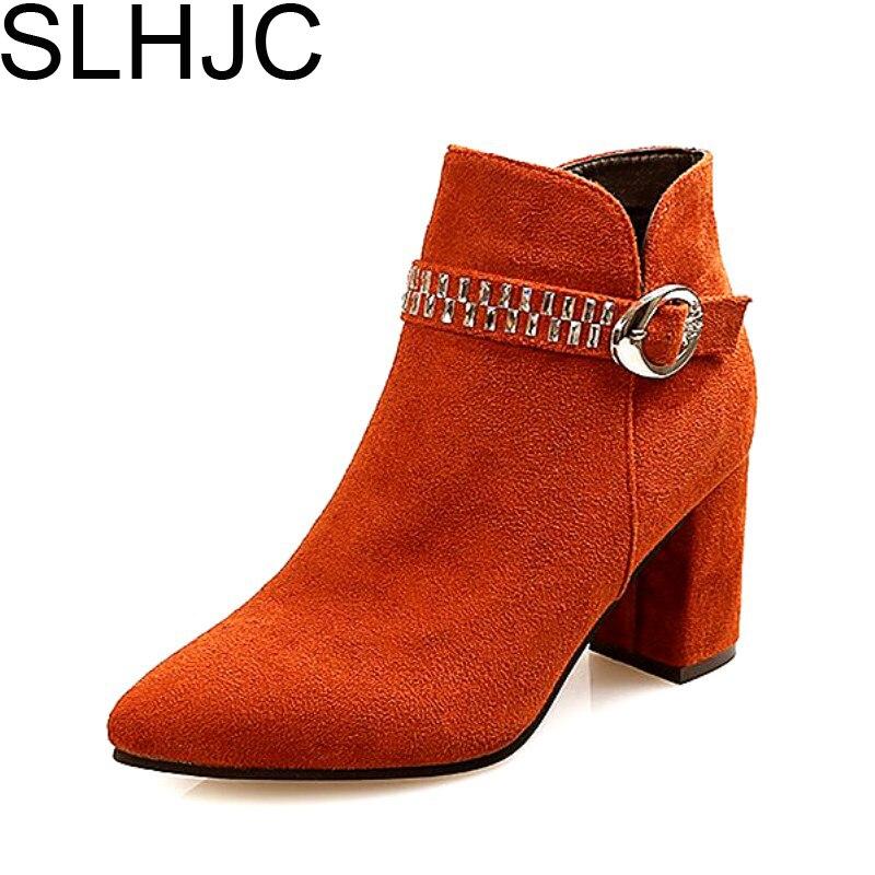 SLHJC Autumn Boots High Heels Square Heel Fashion Easy Match Short Design Pointy Toe Pumps Shoes 7.5 CM Heel Lady Winter Boots slhjc fashion 2017 summer autumn medium heel pumps square toe ribbon all match velvet sandals